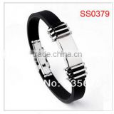 New coming stainless steel cable bracelet magnetic balance silicon power bracelet