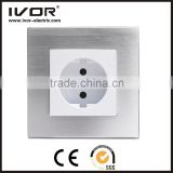 2016 new design IVOR aluminum silver material factory provided electrical Germany switches new switch socket