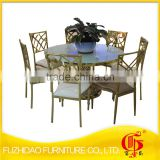 stainless steel frame with tempered glass top banquet table