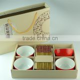 red glazed ceramic bowl and wooden chopsticks set in gift box dinner set for wholesale