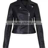 Pu Leather Motorcycle Jackets Black Leather Look Cropped Biker Jacket For Women Autumn Winter