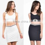 Sports Wear Women Scoop Neck Cropped Top And Sporty Bodycon Skirt Matching Sets Skirt With Crop Top