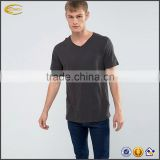 New summer casual men v neck short sleeves 100% cotton tee wholesale Dark Grey blank fitted t-shirt with Raw Hem