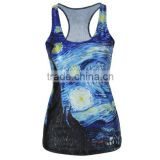 Summer running vest all over digital printing tshirt
