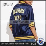 Women Custom Back Embroideried Zip Up Coat Striped Half Sleeve Satin Bomber Jacket Navy Blue