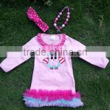 Pink girls dress new design ruffle dress clothes 100%cotton cute owl children kids clothes with matching necklace and headband