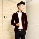 Fashion Casual Blazer Velvet Men\'s Clothing Suit Fashion Slim Wine Red Male Civies Men Blazer Blaser Jackets