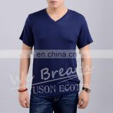 Men Bamboo V-neck Summer Basic Breathable T-shirt