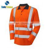 China good Reflective Safety long sleeve polo t-shirt wholesale
