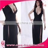 Deep v-neck open black maxi bodycon bandage dress