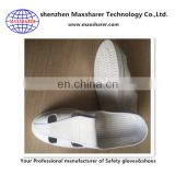 White 4 holes clean room shoes PU sole esd shoes leather anti static shoes