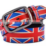 popular flag pattern printed PU leather belt scrawl cowhide leather top grade special belt with buckles accessories