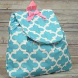 monogrammed or applique blue and pink book bag dance bacpack