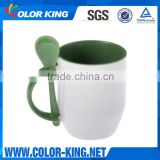 Top Grade wholesale white blank ceramic mug with spoon                                                                         Quality Choice