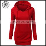 Autumn Wholesale Blank Color Drawstring Women Longline Elongated Long Hoodies with Kangaroo Pocket