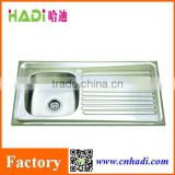 Big size stainless steel kitchen sink for africa market, double bowl kitchen sink with drainboard HD10050-L