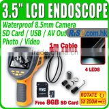 "DVR 3.5"" LCD Endoscope Borescope Video Recordable 1M IP67 Free 8GB Zoom 8.5mm Inspection Camera"