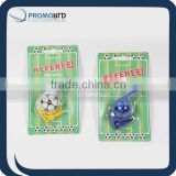 Blistercard packing whistle Football cheerin items Promotion 2014 football items