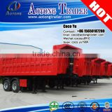 Shandong Juyuan factory ISO9001:2008 Cartification and semi-trailer type gooseneck Tri axles rear tipper trailer truck