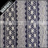 Nigeria design very popular color knitting textile teal blue guipure lace bead fabric online A-18