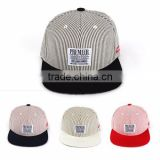 [P277-P280] GARDEN various color matching striped cotton fabric and premier applique on front panel snapback