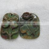 Green jasper flower birds butterfly carving and other theme animal carving pendant charm