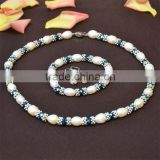 Latest design wholesale Diamond Necklace Pearl Wedding Jewelry Set