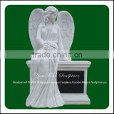 Decorative Hand Carved White Marble Angel Engraving Tombstone