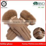 Helilai BSCI Factory Ladies Rabbit Fur Cuff Iphone Touch Wool Gloves With Bows on the Back Women Wool Gloves