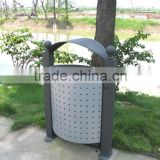 Environmental protection metal street dustbin 25L,outside grey dsutbin with galvanized liner, outdooe steel trash container