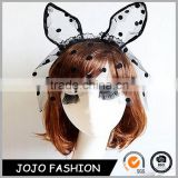 New design beautiful ear shaped hair band mask lace changeable hair band for party                                                                                                         Supplier's Choice