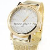 Men Dress Gold-Tone Metal Mesh Bracelet Watch quartz wirst watch movement china factory