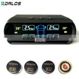 solar power supply TPMS car tire pressure monitoring system with 4 external sensors PSI/BAR measurement