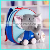 Lovely Elephant Funny Cartoon School Backpack, kids zoo plush animal bag hanging toy