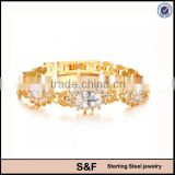 Hand Made Gemstone Bracelets Plated Gold Stainless Steel Jewelry                                                                         Quality Choice