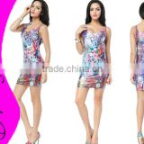 Autumn New Style Fashion Elegant Sexy Bodycon Sleeveless Colorful Printed Galaxy Dresses