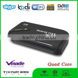 Factory supply 1080p android quad core tv box support dvb t2 install free play store app