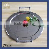 Charming vintage style party stainless steel food safety serving tray plate with crystal element with Crystal Diamond
