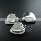 20MM silver plated brass lovers' heart locket pendant charm,vintage heart love photo locket 1132010