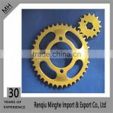 yellow painting and golden zinc plated motorcycle sprocket CGL125 38T for 428 chain drive type