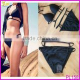 Black Strappy Women Sexy Bikini Set Padded Swimwear Swimsuit Bathing Beachwear Suit 2014 Hot Sell