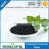 Worldful biochemical fulvic acid potassium / 100% water soluble potassium fulvate shiny flake foliar spray