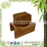 "Aonong Set 6 NATURAL ""Green"" Sustainable Bamboo Wood Drink Beverage Coasters with Caddy"