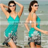 Solid color front wrap bikini cover ups hot sale sexy ladies backless beach dress