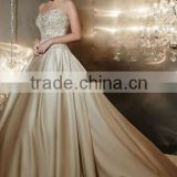 new backless satin beaded champagne colored bridesmaid dresses