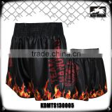 Men's boxing garment 100% polyester satin firepower printed mma muay thai fight shorts