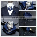 Aidocrystal Handmade Fashion Skinny Knitted Formal Tie Pin And Pocket Square And Bow Ties Sets