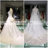 High Quality Satin Appliqued Lace Big Ball Gown A-Line Wedding Costume Floor-lenght Court Train Wedding Dress 2016
