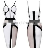 Clothing Women New Bodycon Sexy Club Party Dresses Black White spaghetti strap Western Elegant Bandage Dress