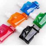 manufactures plastic PE sport water bag , water bag with carabiner, cheap convenient foldable drinking bag